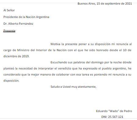La carta de renuncia del Ministro de Interior